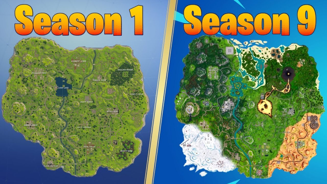 Evolution Of The Fortnite Map Season 1 Season 9