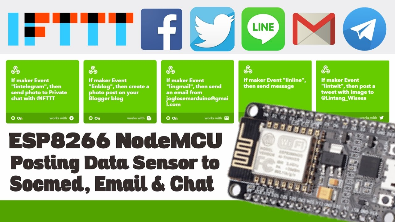 ESP8266 NodeMCU: Posting Data on Facebook, Twitter, LINE, Telegram & Email