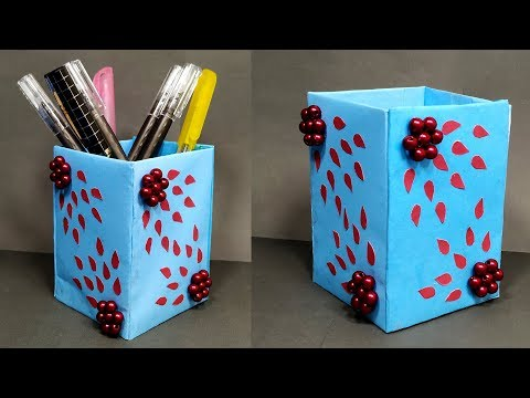 How to Make Pen Holder Easy Idea! Homemade Pen Stand Making with Paper! Jarine's Crafty Creation