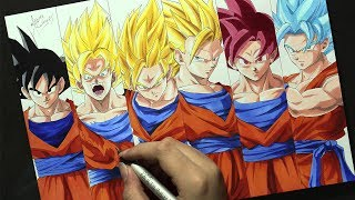 Speed Drawing - GOKU TRANSFORMATIONS [Dragon Ball Z]