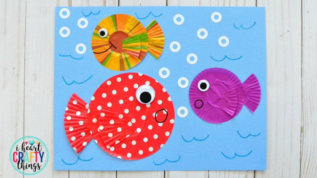 Cupcake liner fish craft youtube cupcake liner fish craft jeuxipadfo Gallery
