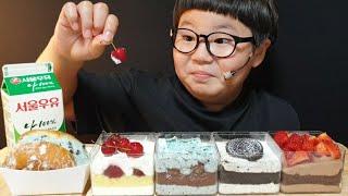 파리바게트 더스퀘어 케이크먹방 | 민트초코와 빵돌이는 사랑에 빠지다😆|   koreanfood | ASMR MUKBANG | EATING SHOW