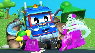 Truck cartoons for kids -  DORAEMON Goes Crazy - Super Truck in Car City !