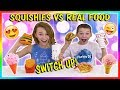SQUISHIES VS REAL FOOD SWITCH UP CHALLENGE We Are The Davises mp3