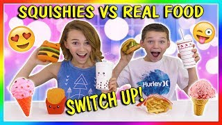 SQUISHIES VS REAL FOOD SWITCH UP CHALLENGE | We Are The Davises