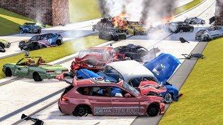Massive Spike Strip Pileup Crashes #3 – BeamNG Drive | CrashBoomPunk