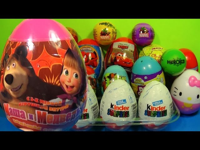 Маша и Медведь!1 of 20 Kinder Surprise and Surprise eggs (SpongeBob Cars Hello Kitty) Travel Video