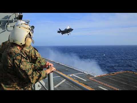 F-35B Vertical Landing - Amphibious Assault Ship USS Essex