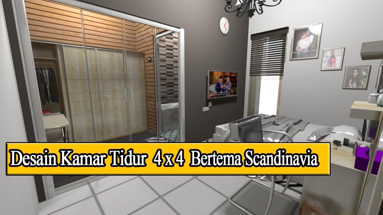 Desain Kamar 4x4 Bertema Scandinavia Dilengkapi Wc Ruangan Baju Youtube