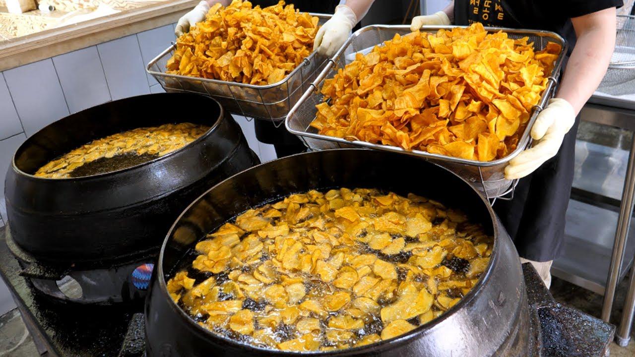 리얼 가마솥 수제 고구마칩 / Real crispy fried sweet potato chips / korean street food