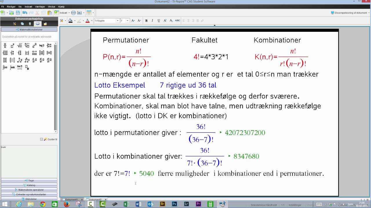 Permutationer-fakultet-kombinationer