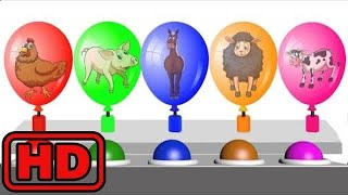 Kid -Kids -Popping Colored Farm Animal Balloons/Learn Farm Animals And Colors For Children/ZOO Anim