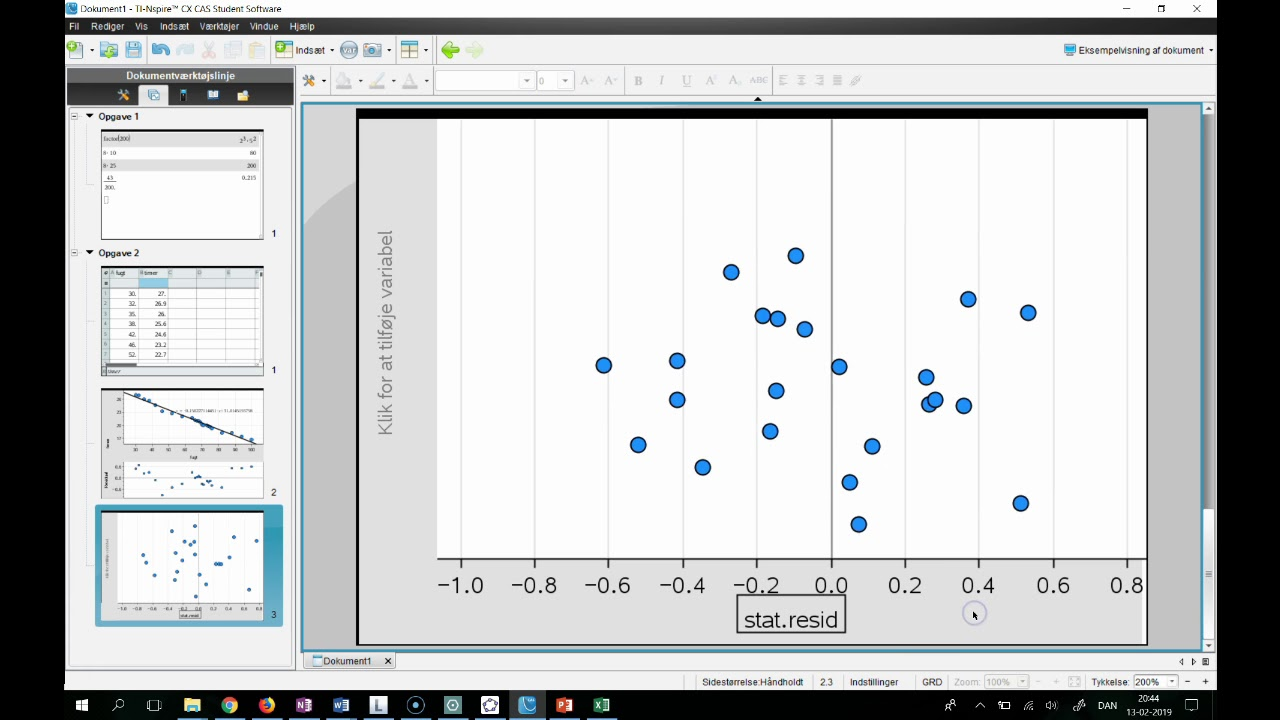 Nspire - Lineær regression, residualer og residualspredning