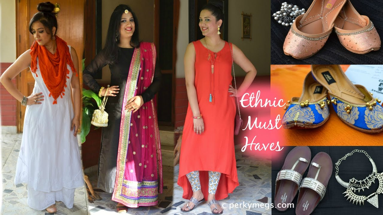 41789ef6c3 Indian Wardrobe essentials | Indian ethnic wear | Perkymegs - YouTube