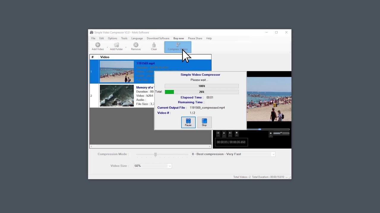 Compress video file Simple Video Compressor Compress MP4