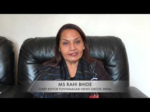 Message from highly regarded lady Ms Rahi Bhide, Chief Editor, Punyanagari news group, India