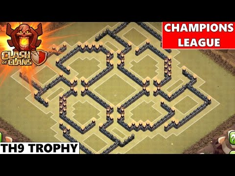 Clash Of Clans | Epic TH9 Champions League Trophy Base 2015! Maze Tricky Base!