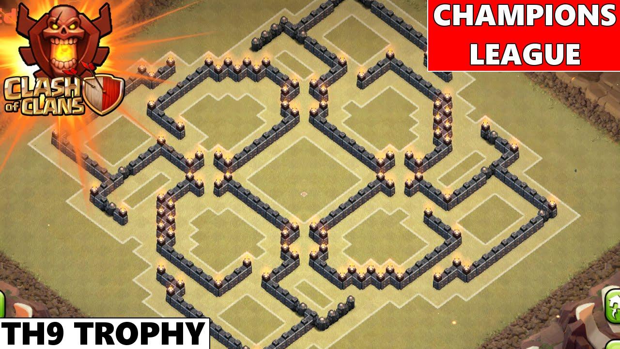 Clash Of Clans | Epic TH9 Champions League Trophy Base ...