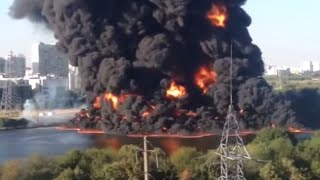 'River on fire!' Huge flames after oil spill ignites in Moscow