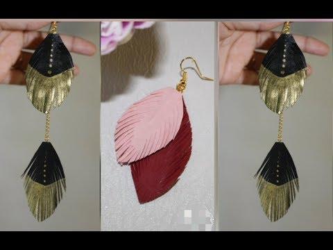 DIY/2 Designs Feather Earrings Making from Paper only/कागज से बनाये पंख वाले इयरींगस