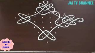 4 *4 dots kambi kolam for beginners, 4 dots neli kolam with extended dots