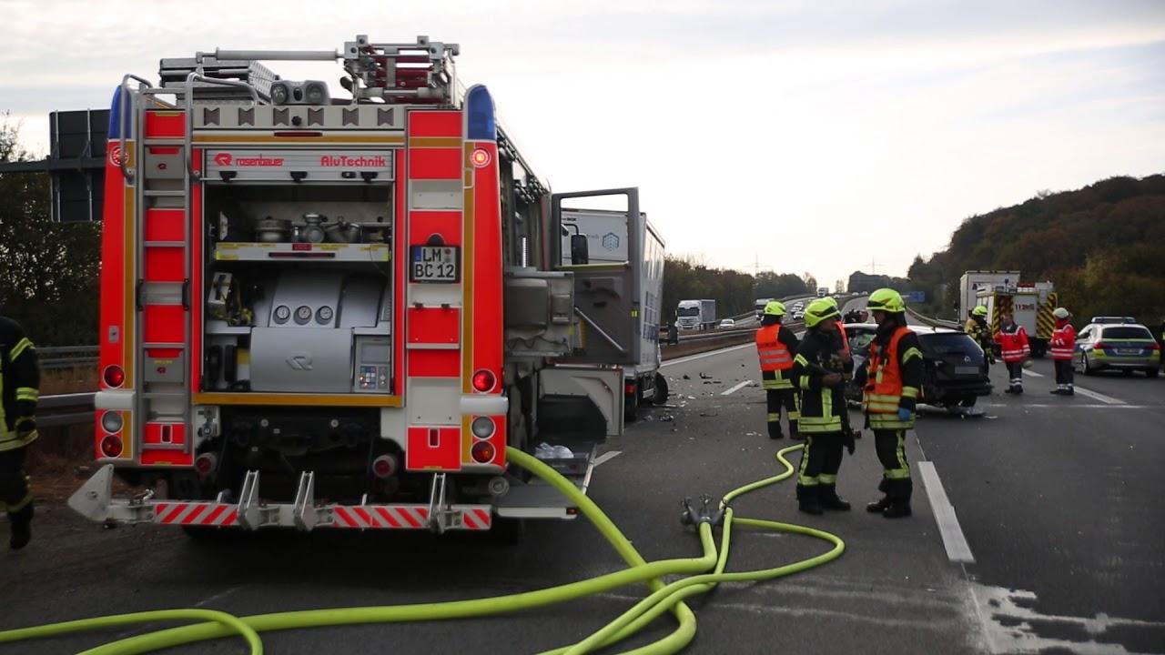 A3 bei Bad Camberg nach Zusammenstoß voll gesperrt – Rettungshubschrauber im Einsatz