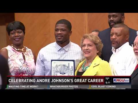 Retired Texan Andre Johnson honored at City Hall