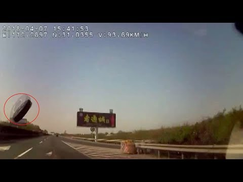 Flying tire smashes into windscreen