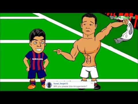 Luis Suarez bites Cristiano Ronaldo (parody)