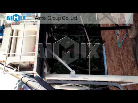 HZS50 Concrete mixing plant test running video in Thailand