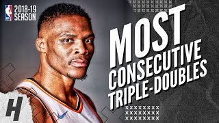 Russell Westbrook's 10 Straight Triple-Doubles BEST Highlights - NBA Record | 2018-19 NBA Season