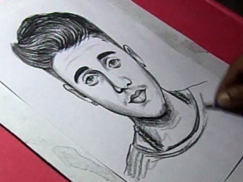 How To Draw Pop Singer Justin Bieber Drawing Youtube