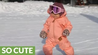 9-month-old snowboarder takes on the slopes
