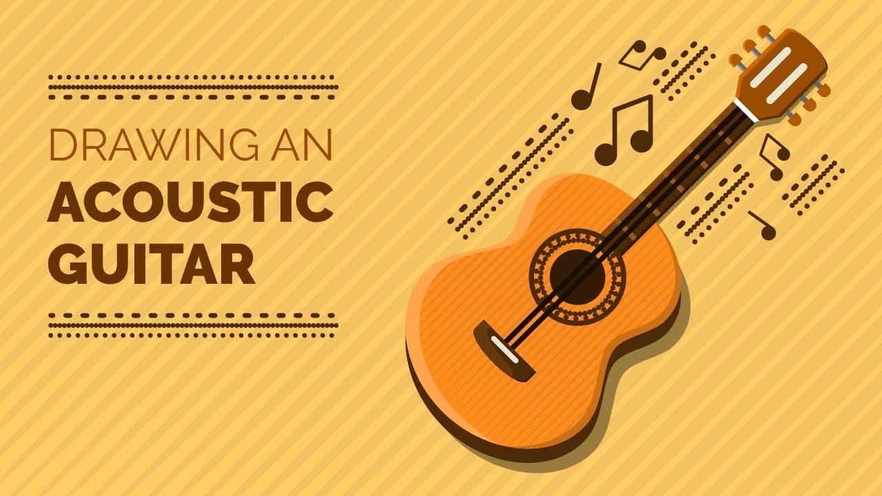 Acoustic Guitar Vector Illustration Icon Design Adobe