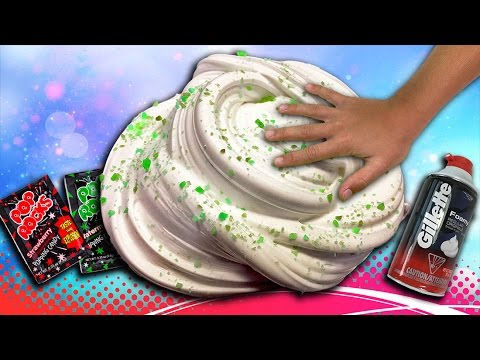 FLUFFY SLIME with Pop Rocks Candy HOW TO / How to make DIY Fluffy Slime
