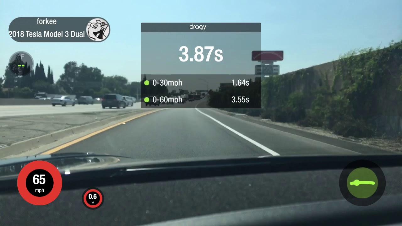 Tesla Model 3 Dual Motor Performance 0-60 in 3.55 on Dragy (SOC 80s ...