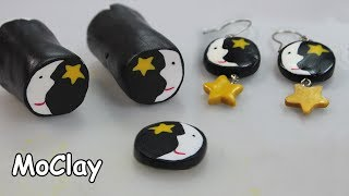 DIY Moon face and star cane - Polymer clay earrings
