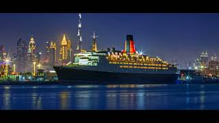 The Queen Elizabeth 2, QE2, is a floating hotel in Dubai, UAE.