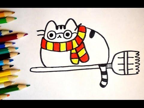 Как нарисовать кота Pusheen Пушина - Гарри Поттер. Рисуем кота Pusheen