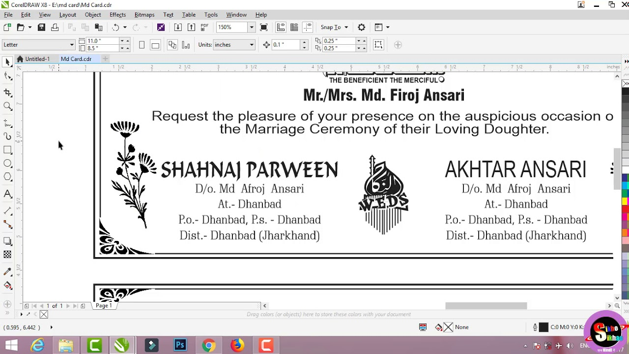 wedding card muslim design in corel draw hindi video tutorial shadi card