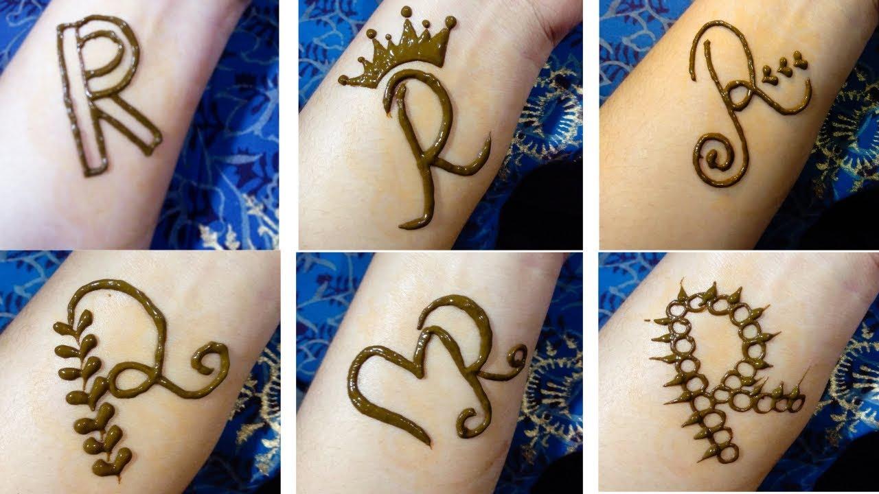 r letter mehndi design
