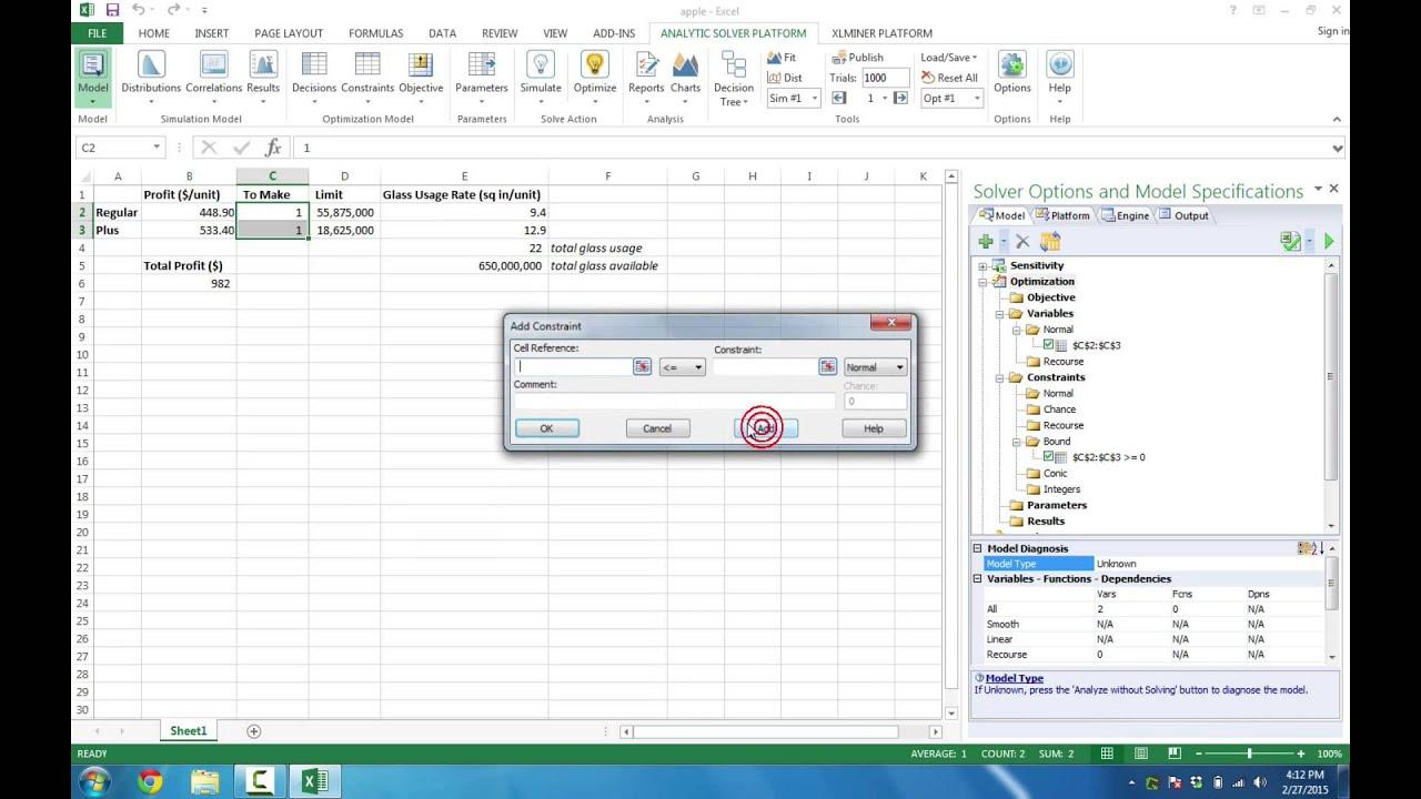 Solving Optimization Models with Analytic Solver Platform