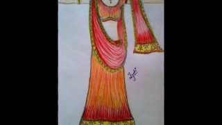 How to draw Indian dresses/ Indian dress designs.