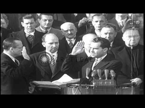 Dwight D Eisenhower being sworn in as the 34th President of the US at the Capitol...HD Stock Footage
