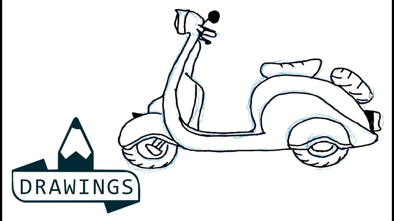 Uncategorized Simple Motorcycle Drawing speed drawing how to draw a scooter basic and simple youtube