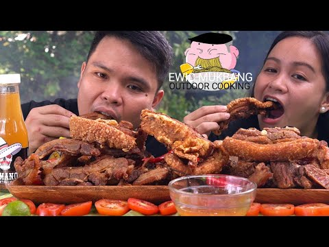 OUTDOOR COOKING | CRISPY PORK BELLY CHICHARON Mukbang | Filipino Food Mukbang | Mukbang Philippines