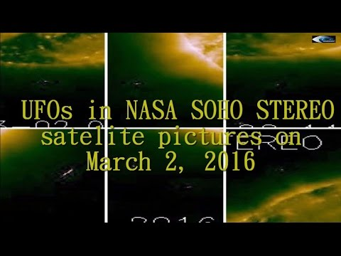 UFOs in NASA SOHO STEREO satelite pictures on March 2, 2016
