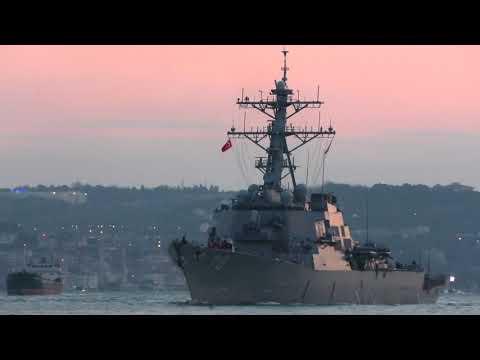 U.S. Navy Arleigh Burke class destroyer USS PORTER DDG-78 transits Istanbul towards Black Sea