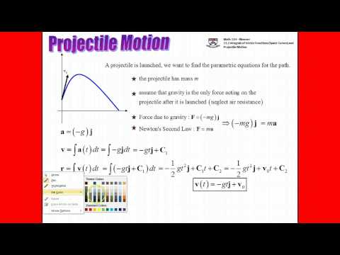 (45:33) UPenn Math 114 Projectile Motion from Vector Perspec