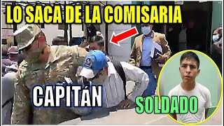 CAPITAN SACA DE LA MANO  A MILIT4R  DETENIDO EN LA COMISARIA QUE DISPARÓ A DELINCU3NTE. PERU